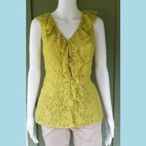 BANANA REPUBLIC Lime Green Lace Front Blouse